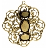Filigree Pendant Setting 50mm Flower Antique Brass